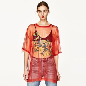 Zara Red Mesh Floral Embroidered Top, Sz S (NWOT)